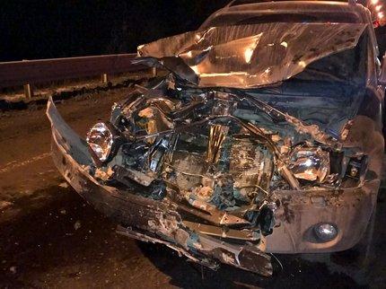 Под Уфой случилось серьезное ДТП: шофёр Хонда CRV влетел втрактор