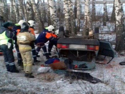 ВБашкирии опытный шофёр опрокинул вкювет «девятку»