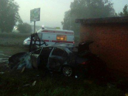 ВБашкирии после ДТП иностранная машина сгорела дотла, мужчина-водитель умер